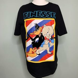 Looney Tunes Finesse Black Tee Daffy and Porky L